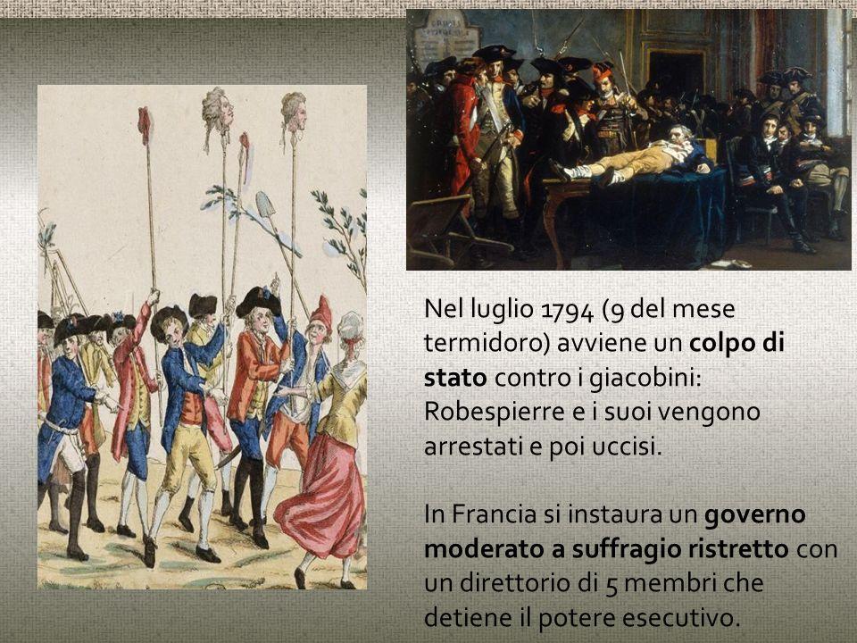 Nel luglio 1794 (9 del mese termidoro) avviene un colpo di stato contro i giacobini: Robespierre e i suoi vengono arrestati e poi uccisi.