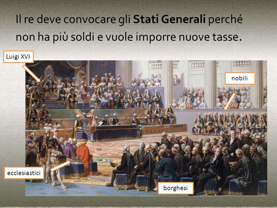 Il re deve convocare gli Stati Generali perché non ha più soldi e vuole imporre nuove tasse.
