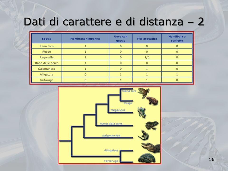 Dati di carattere e di distanza  2