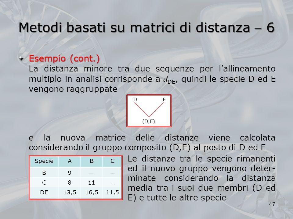 Metodi basati su matrici di distanza  6
