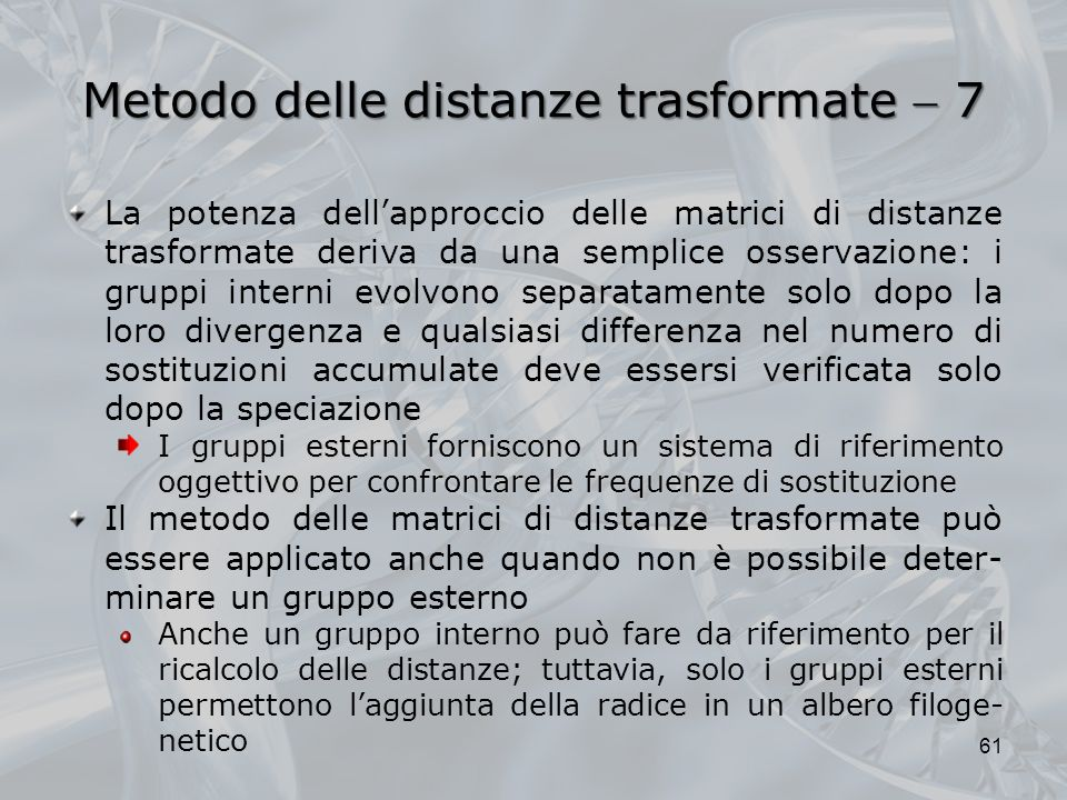 Metodo delle distanze trasformate  7