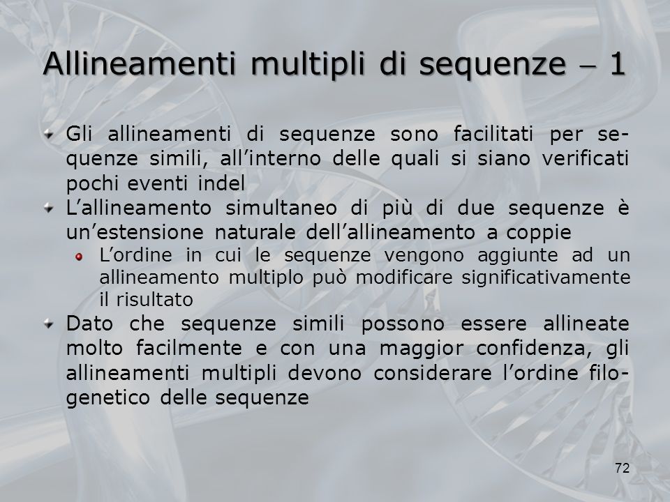 Allineamenti multipli di sequenze  1