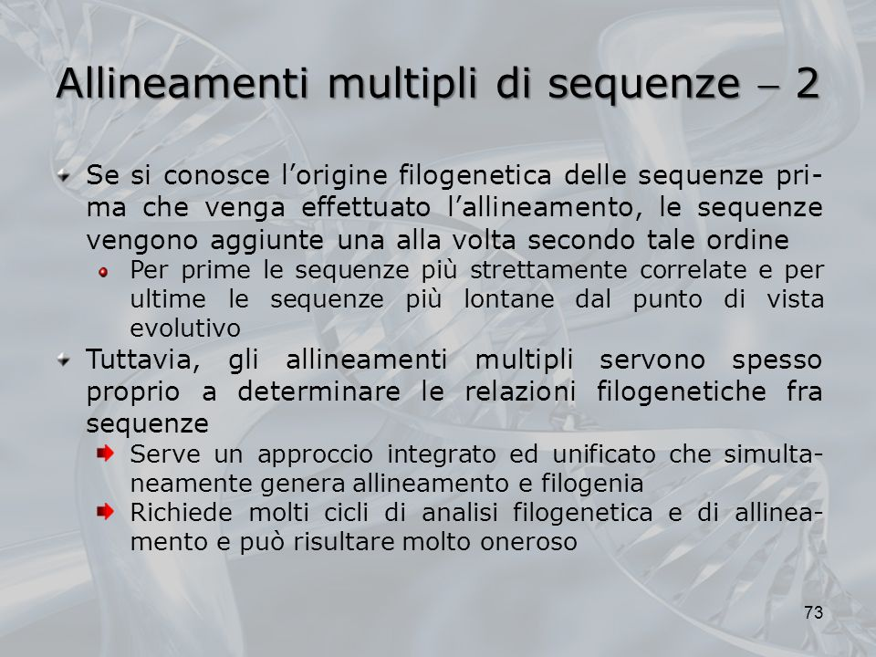 Allineamenti multipli di sequenze  2