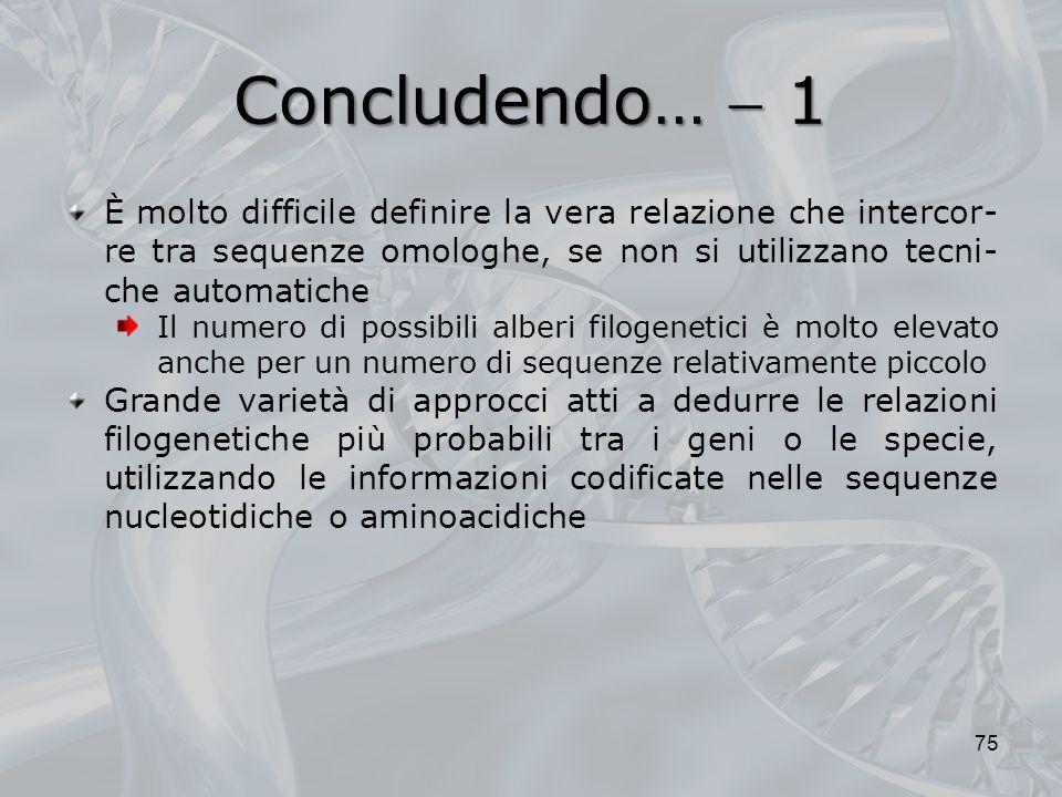 Concludendo…  1 È molto difficile definire la vera relazione che intercor-re tra sequenze omologhe, se non si utilizzano tecni-che automatiche.