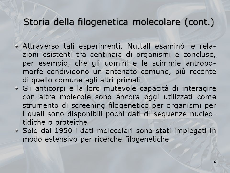 Storia della filogenetica molecolare (cont.)