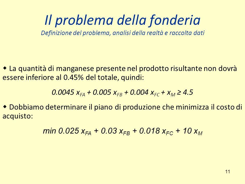 Il problema della fonderia Definizione del problema, analisi della realtà e raccolta dati