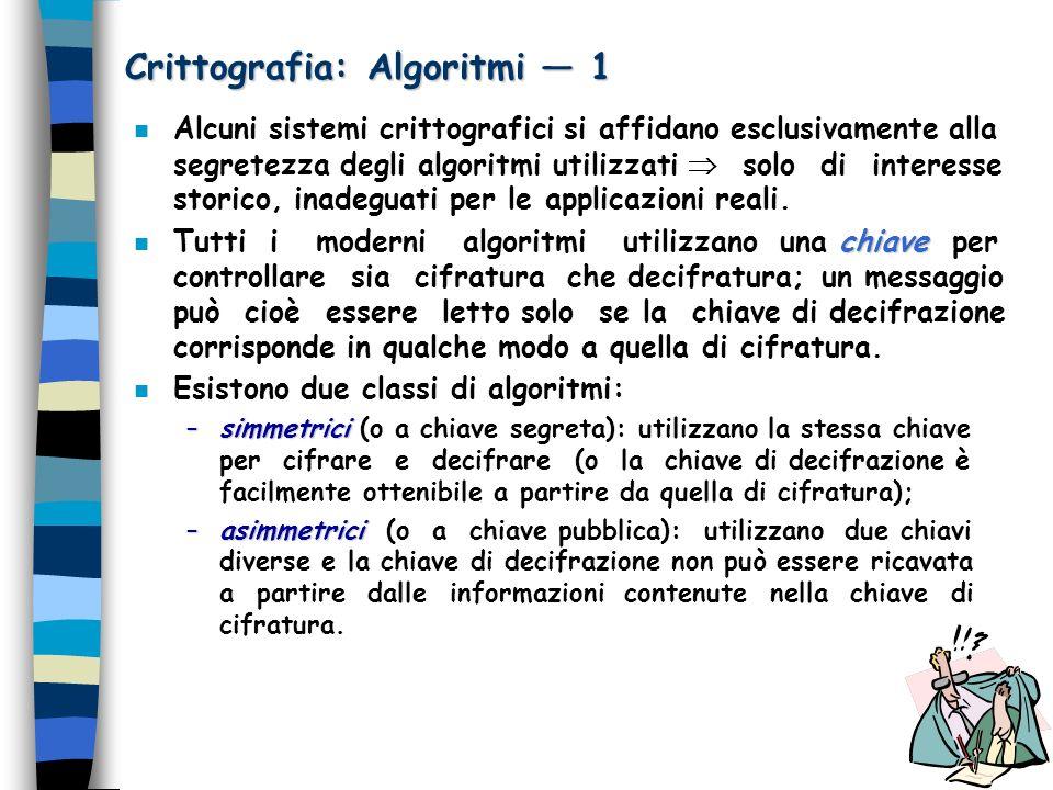 Crittografia: Algoritmi — 1