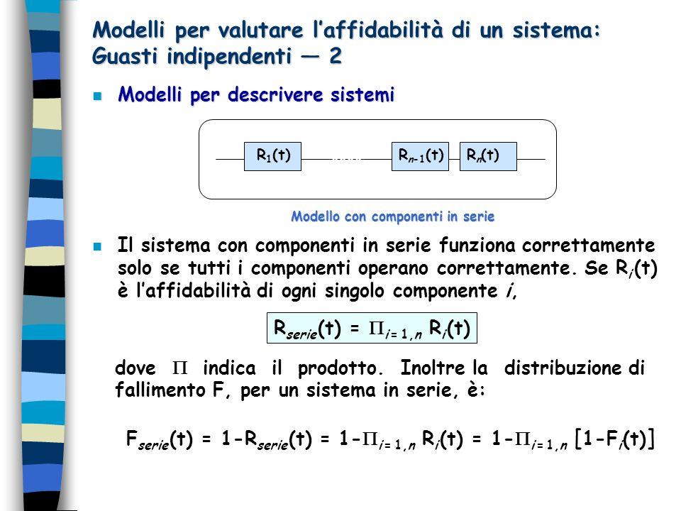 Modelli per valutare l'affidabilità di un sistema: Guasti indipendenti — 2