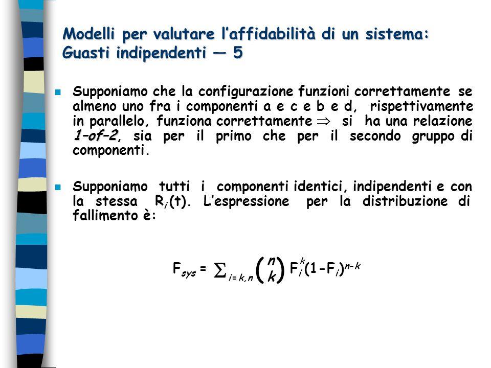 Modelli per valutare l'affidabilità di un sistema: Guasti indipendenti — 5