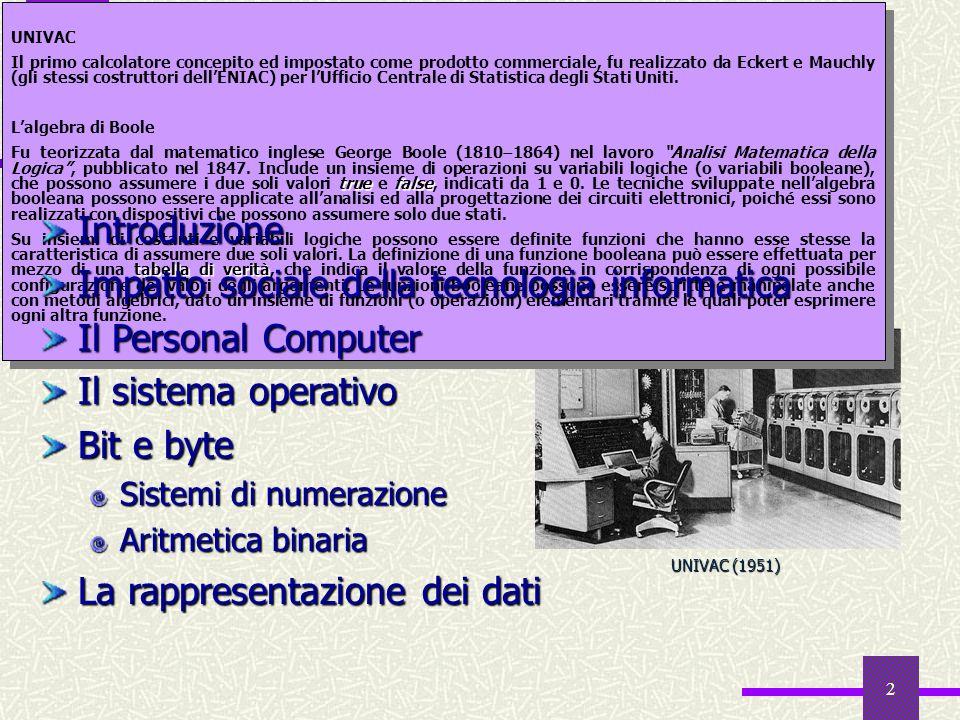 Sommario Introduzione Impatto sociale della tecnologia informatica
