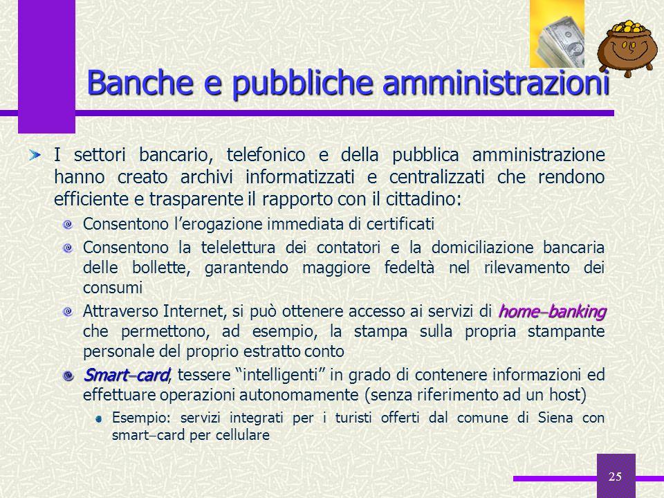 Banche e pubbliche amministrazioni