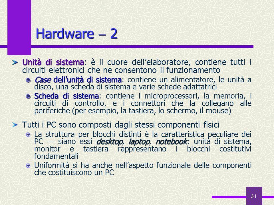 Hardware  2 Unità di sistema: è il cuore dell'elaboratore, contiene tutti i circuiti elettronici che ne consentono il funzionamento.