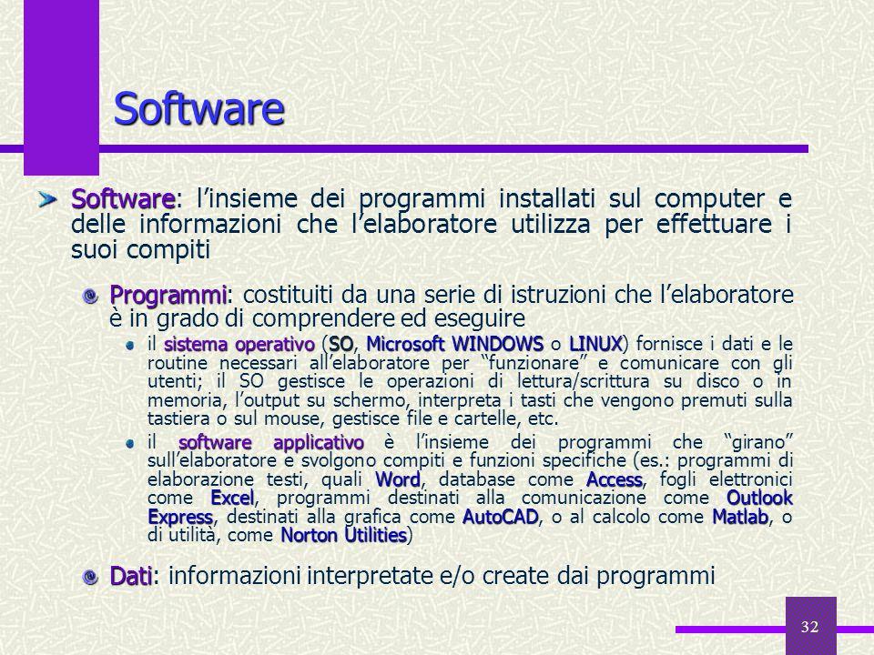 Software Software: l'insieme dei programmi installati sul computer e delle informazioni che l'elaboratore utilizza per effettuare i suoi compiti.