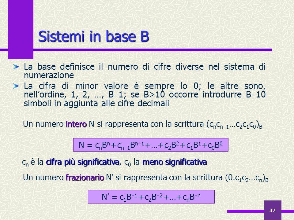 N = cnBn + cn1Bn1 +…+ c2B2 + c1B1 +c0B0