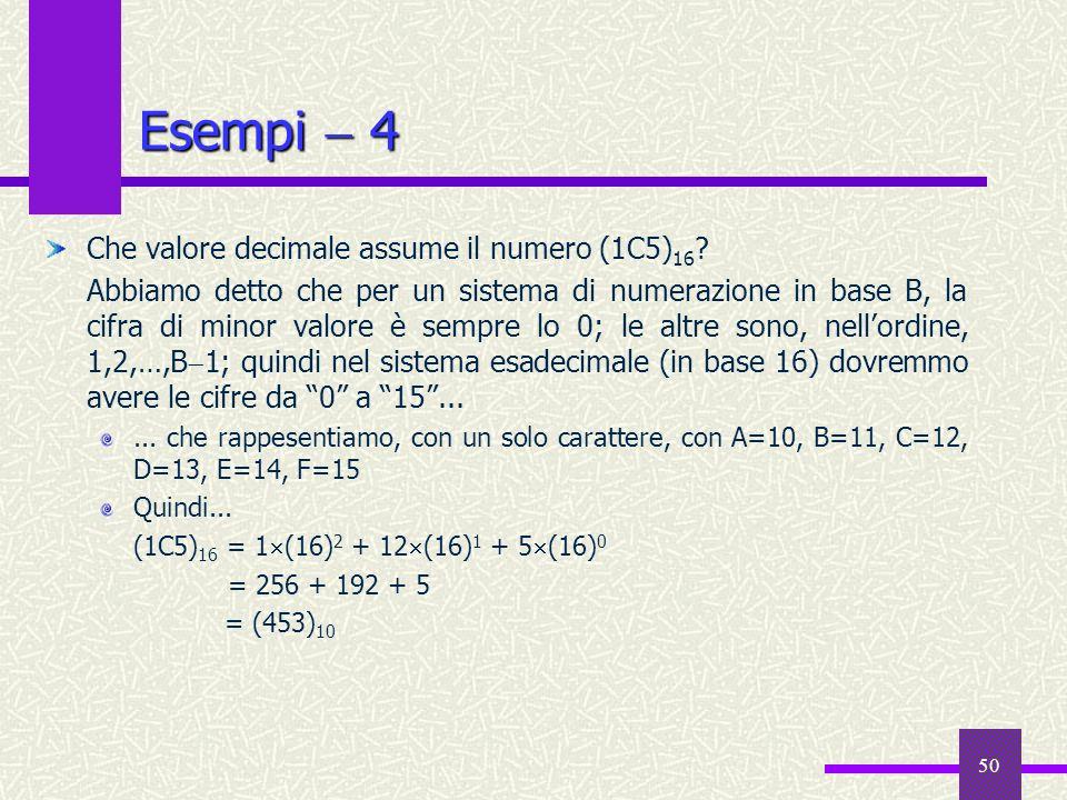 Esempi  4 Che valore decimale assume il numero (1C5)16