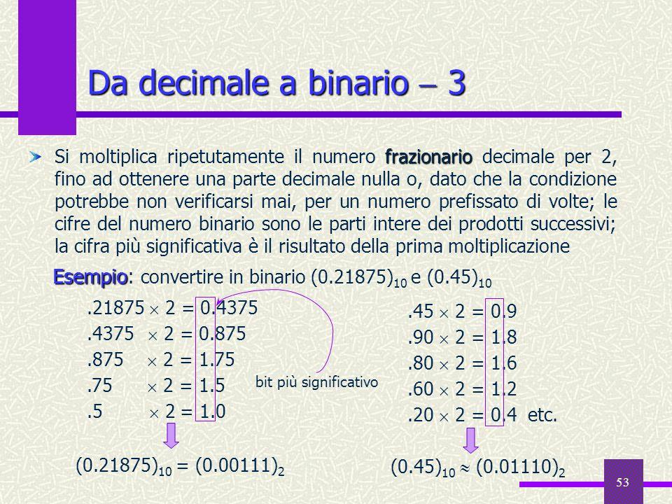 Da decimale a binario  3