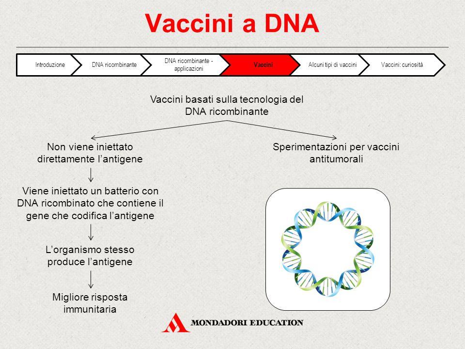 Vaccini a DNA Vaccini basati sulla tecnologia del DNA ricombinante