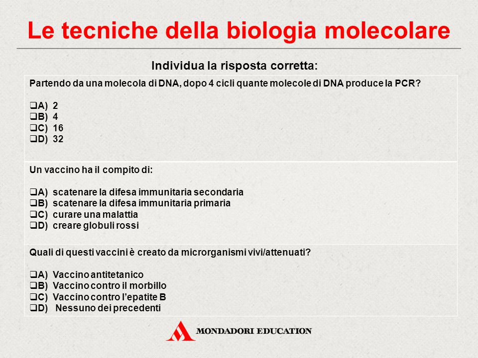 Le tecniche della biologia molecolare Individua la risposta corretta: