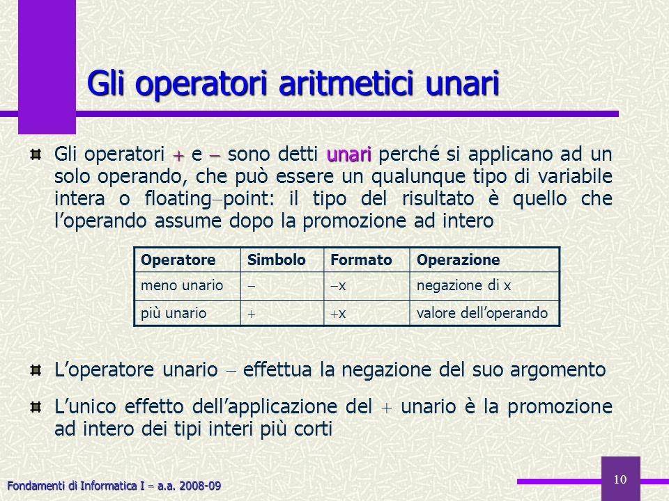 Gli operatori aritmetici unari