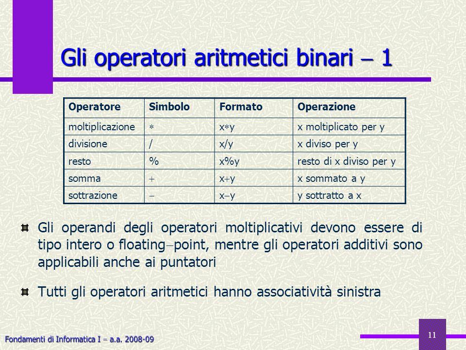 Gli operatori aritmetici binari  1