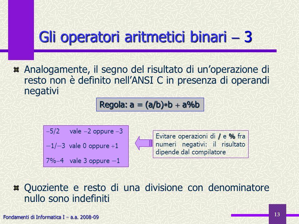 Gli operatori aritmetici binari  3