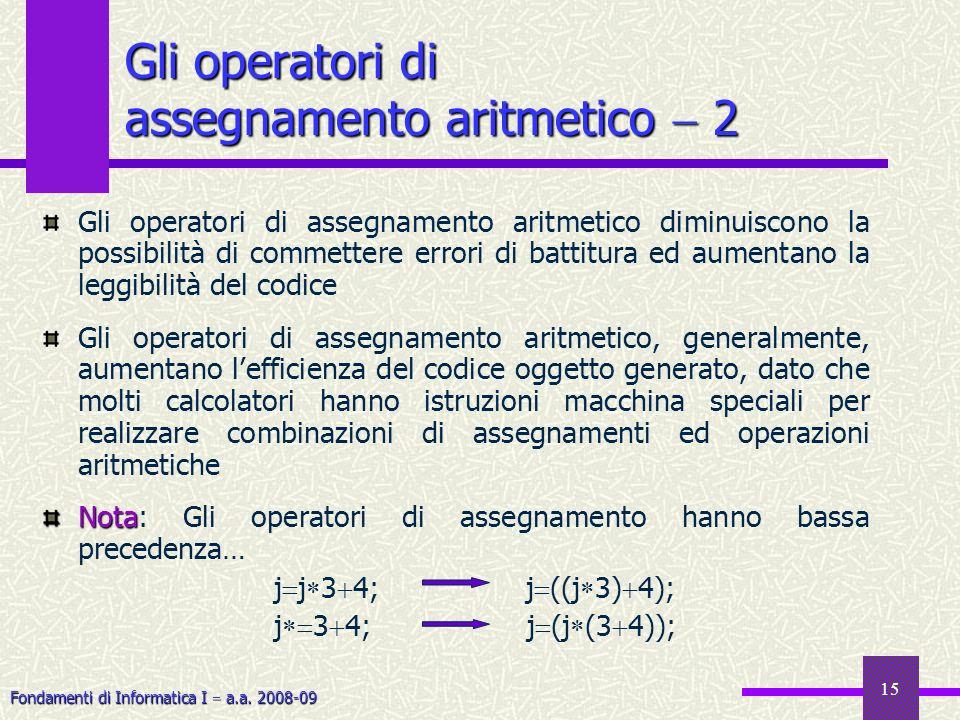 Gli operatori di assegnamento aritmetico  2