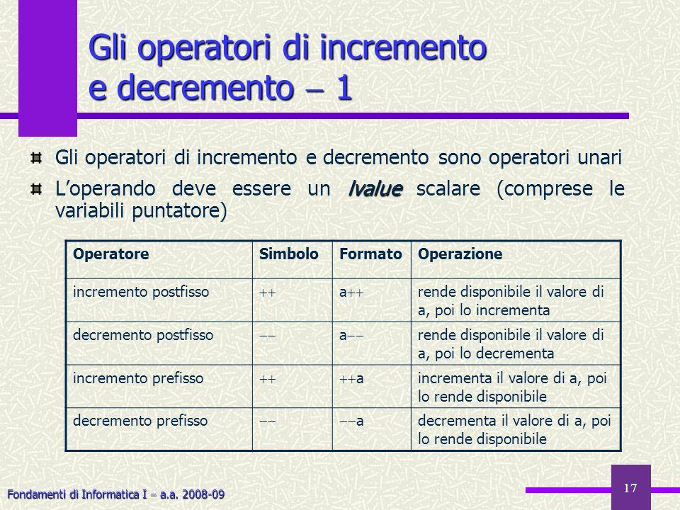 Gli operatori di incremento e decremento  1