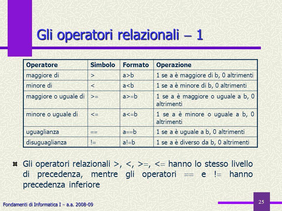 Gli operatori relazionali  1