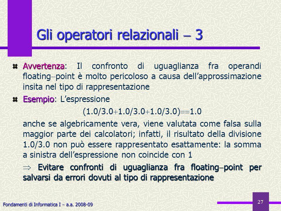 Gli operatori relazionali  3