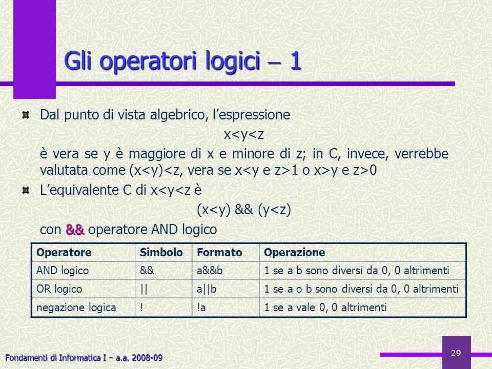 Gli operatori logici  1 Dal punto di vista algebrico, l'espressione