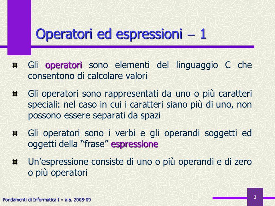 Operatori ed espressioni  1