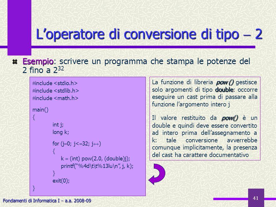 L'operatore di conversione di tipo  2
