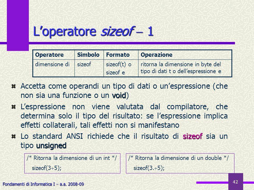 L'operatore sizeof  1Operatore. Simbolo. Formato. Operazione. dimensione di. sizeof. sizeof(t) o. sizeof e.