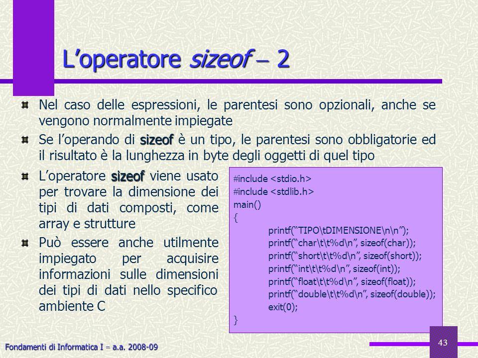 L'operatore sizeof  2Nel caso delle espressioni, le parentesi sono opzionali, anche se vengono normalmente impiegate.