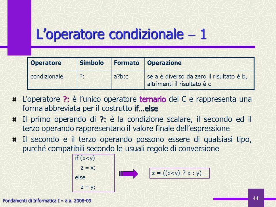 L'operatore condizionale  1