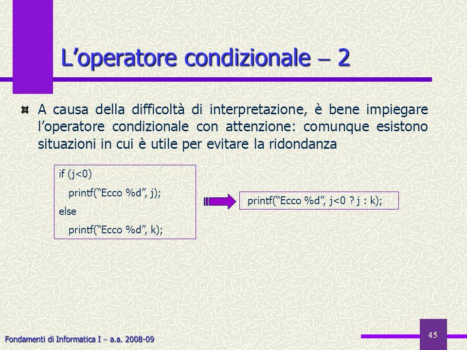 L'operatore condizionale  2