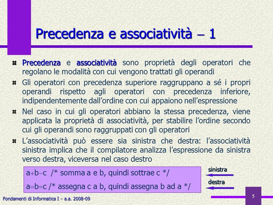 Precedenza e associatività  1