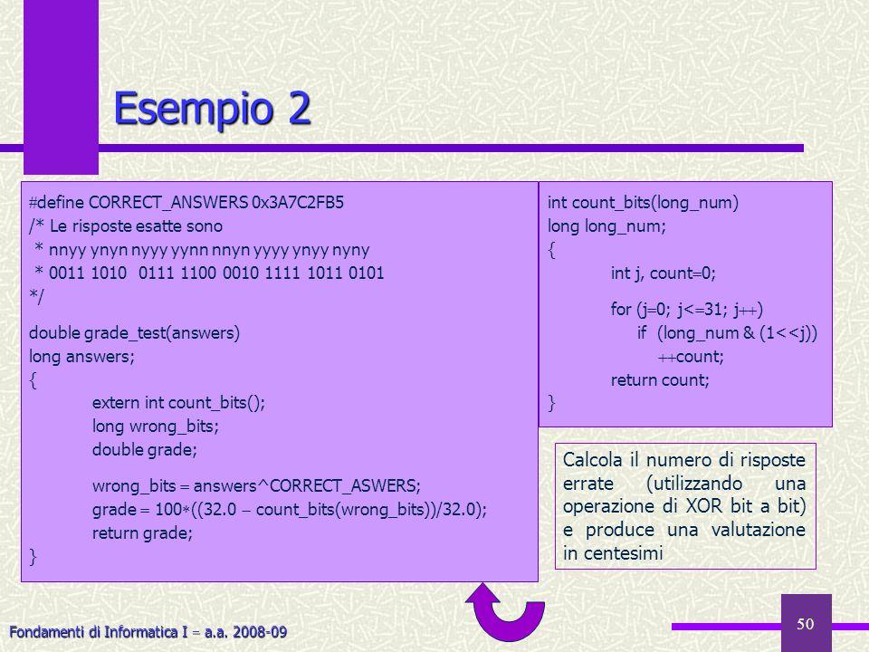 Esempio 2 define CORRECT_ANSWERS 0x3A7C2FB5. /* Le risposte esatte sono. * nnyy ynyn nyyy yynn nnyn yyyy ynyy nyny.
