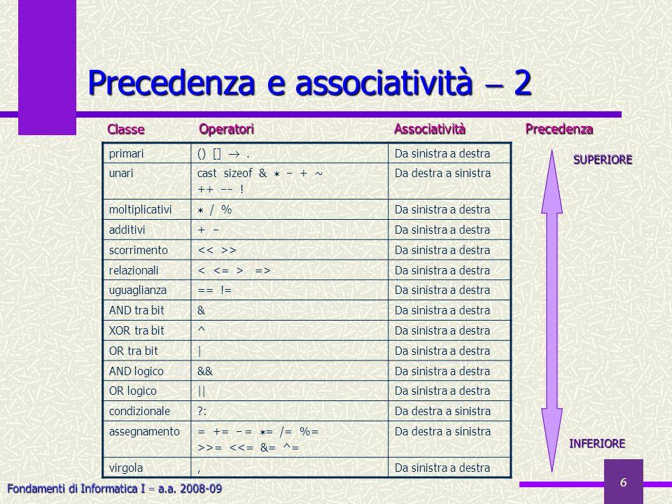 Precedenza e associatività  2