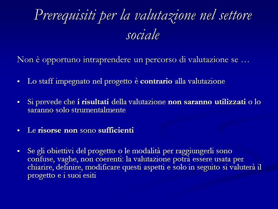 Prerequisiti per la valutazione nel settore sociale