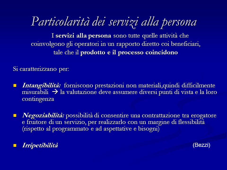 Particolarità dei servizi alla persona
