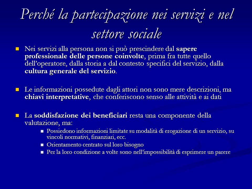 Perché la partecipazione nei servizi e nel settore sociale