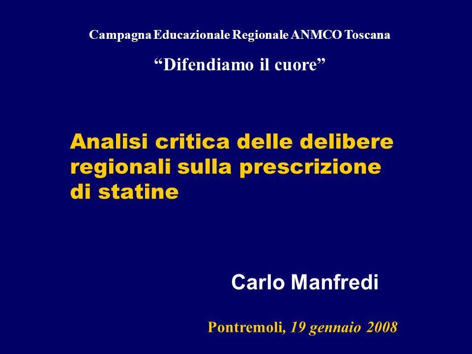 Analisi critica delle delibere regionali sulla prescrizione di statine