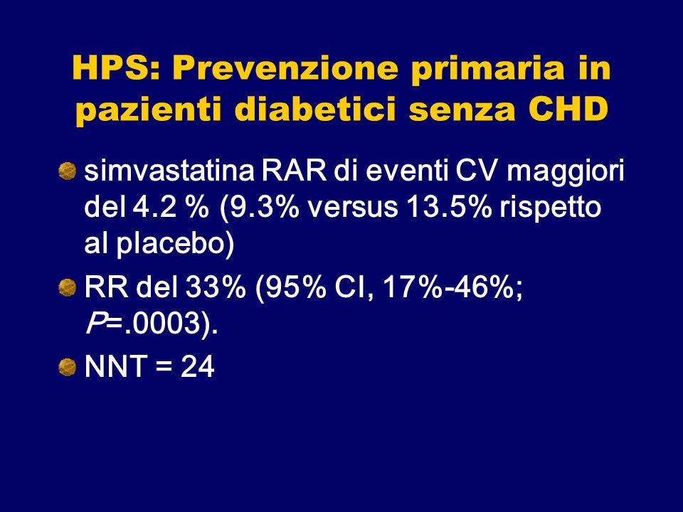 HPS: Prevenzione primaria in pazienti diabetici senza CHD