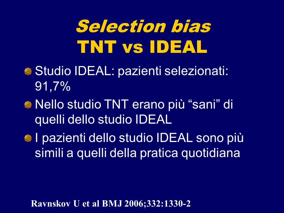 Selection bias TNT vs IDEAL