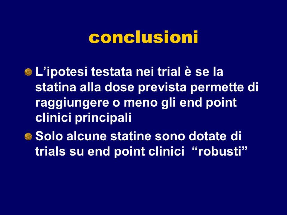 conclusioniL'ipotesi testata nei trial è se la statina alla dose prevista permette di raggiungere o meno gli end point clinici principali.