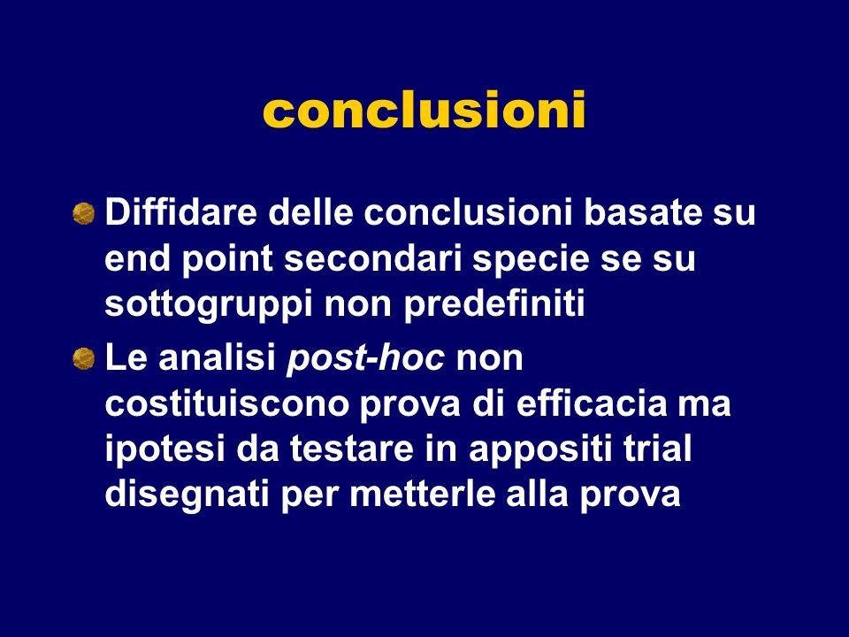 conclusioniDiffidare delle conclusioni basate su end point secondari specie se su sottogruppi non predefiniti.