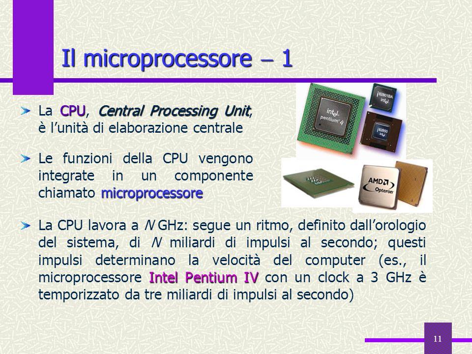 Il microprocessore  1 La CPU, Central Processing Unit, è l'unità di elaborazione centrale.