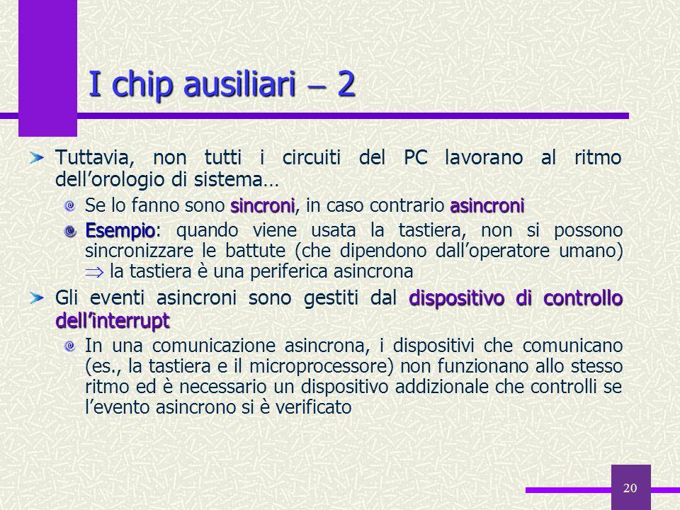 I chip ausiliari  2 Tuttavia, non tutti i circuiti del PC lavorano al ritmo dell'orologio di sistema…