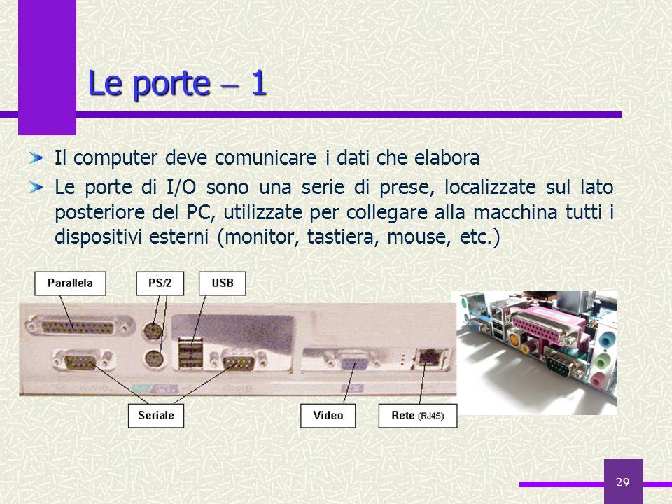 Le porte  1 Il computer deve comunicare i dati che elabora